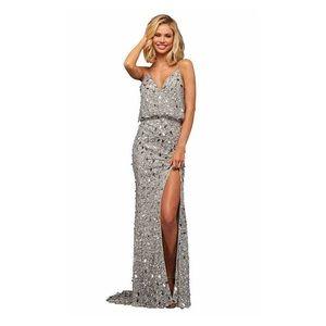 Sherri Hill silver prom dress style #52452